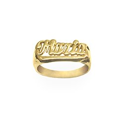 Name Ring 24K Gold Plated Sterling Silver Personalized Handcrafted with Name of Your Choice Size 5 thru 10 Made in USA