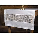 Latin Cross and IHS Lace Altar Frontal Cloth