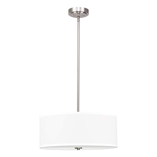 Kira Home Nolan 18″ Classic Drum Chandelier, Stem-Hung Adjustable Height, White Fabric Shade + Glass Diffuser, Brushed Nickel Finish For Sale