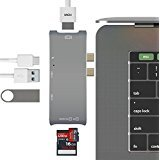 USB C Hub, Type C Hub Adapter for MacBook Pro 13' and 15' 2016/2017, 4K HDMI Hub Multiport Adapter/ Type C Charging Port/ TF SD Card Reader/ 2 USB 3.0 Ports, Space Grey