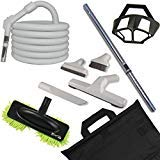 deluxe hard floor central vacuum cleaning set with 35 foot pistol grip style handle hose