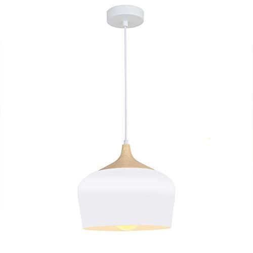 Karmiqi Modern Pendant Lighting Wood Pattern Ceiling Light Fixtures Metal Shade with Edison Bulb for Living Rooms,Dining Room,Kitchen(White) ... (Bulb Lighting Pendant Edison)