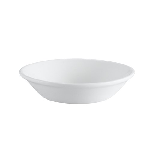 "CAC China EVT-11 Elegant Everest 5.5 oz Fully Glazed Porcelain Round Fruit Dish, 4-3/4"" Diameter by 1-1/8"", Bone White (Box of 36)"