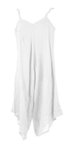 TEXTURE Leg Size Tie Jumpsuit White Womens Romper Linen Wide Ladies Lagenlook Playsuit Italian One rTCgFSr