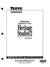 - Heritage Studies 2 Tests Answer Key 2nd Edition
