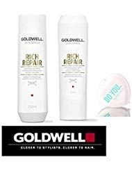 (Goldwell Dualsenses Rich Repair Restoring Shampoo & Conditioner DUO Set (with Sleek Compact Mirror) (10.1 oz / 300ml Kit))