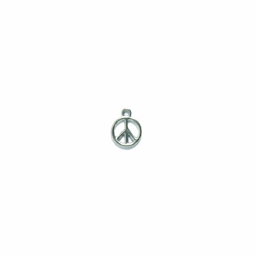 Shipwreck Beads PewterPeace Sign Charm, Silver, 12mm, -