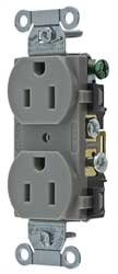 Hubbell CR15GRY Duplex Receptacle, Common Ground, 15 amp, 125V, 5-15 R, Gray (Pack of 10)