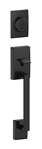 Schlage F58 CEN 622 Century Single Cylinder Exterior Entrance Handleset Lock, Matte Black (Exterior Half (Exterior Single)