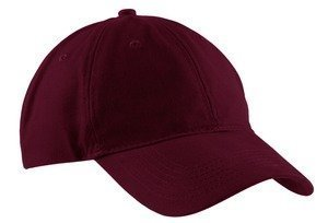 (Port & Company Brushed Twill, Low Profile Cap BLACK AND PINK)