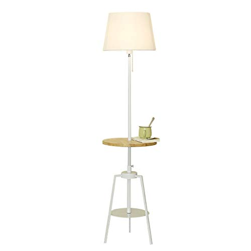 Lamp Wood Floor Tray - Floor Lamp Modern Simplicity Standing Lamp with Wood Tray for Bedroom Living Room Height Adjustable Height: 150-165cm (Color : White lampshade)