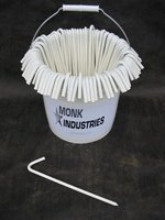Bucket of Stakes, 10''L, 100 Hook Stakes, White