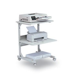 ** Dual Laser Printer Stand, 3-Shelf, 24w x 24d x 33h, Gray **