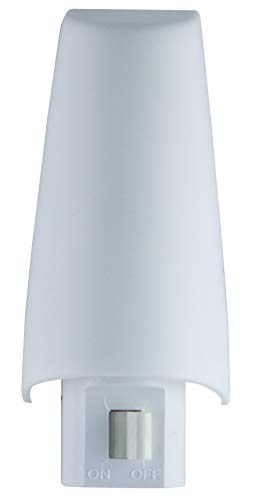 Lights By Night Manual On/Off Night Light, Incandescent, Plug-In, Soft White, White Shade, Ideal for Bedroom, Bathroom, Hallway, Stairs, Pantry and Laundry Room, 52194