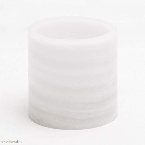 Flameless LED Pillar Candle Marble 4'' x 4'' Set of 12 - Excellent Home Decor - Indoor & Outdoor