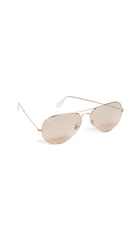 Ray-Ban Women's Oversized Original Aviator Sunglasses, Gold/Smoke Rose Mirror, One - Aviator Ray Ban Original