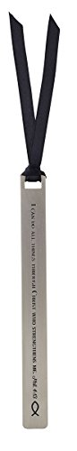 I Can Do All Things Antiqued Finish Metal Bookmark with Coordinating Ribbon and Sleeve, 5 inch -