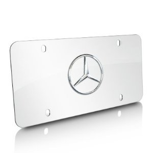 Genuine Mercedes Benz Star Logo on Polished Steel License ()