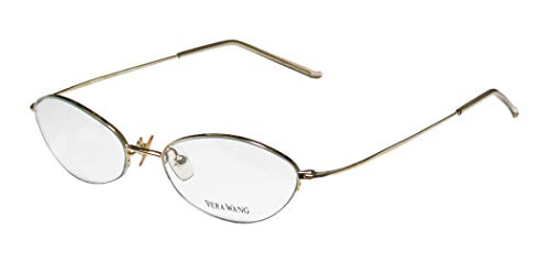 Vera Wang V24 Womens/Ladies Rx-able Red Carpet Style Designer Half-rim Eyeglasses/Glasses (49-16-136, Gold)