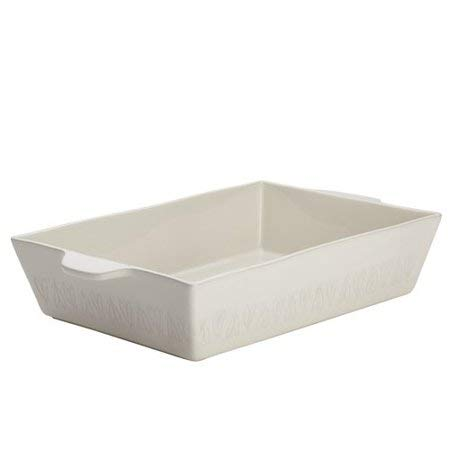 Ayesha Curry Home Collection Stoneware Rectangular Baker 9''x13'' in Cream bundle with Ayesha Curry Stoneware Round Casserole, 2.5-Quart in Cream by Ayesha Curry Kitchenware (Image #1)