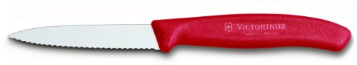 - Victorinox 3.25 Inch Swiss Classic Paring Knife with Serrated Edge, Spear Point, Red