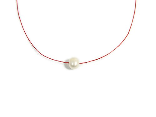 Martinuzzi Accessories Freshwater Cultured Pearl Choker Necklace on Red Silk Cord (Silk Choker Necklace)
