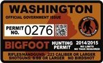 "Washington WA Bigfoot Hunting Permit 2.4"" x 4"" Decal Sticker"