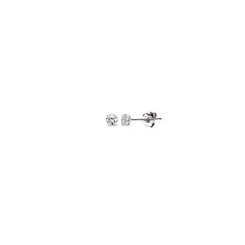 (14K White Gold Cubic Zirconia Small 4mm Round Stud Earrings for Men Women Boys)