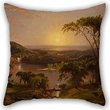 Alphadecor Cushion Covers Of Oil Painting Cropsey, Jasper Francis - Summer, Lake Ontario,for Divan,bedding,teens Girls,her,kids Boys,floor 20 X 20 Inches / 50 By 50 Cm(twice - Drive Lake Woodlands