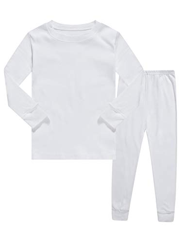 Kids Pajamas Boys & Girls Solid Colors 2 Piece Pajama Set 100% Cotton White Size 5