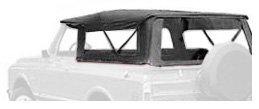 Bestop 51311-01 Black Crush Tigertop Complete Replacement Soft Top Clear Windows for 1967-1973 Jeep Jeepster Commando (1973 Jeep Truck)