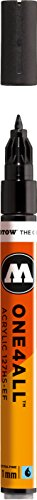 Molotow ONE4ALL Acrylic Paint Marker, 1mm Extra Fine, Signal Black, 1 Each (127.101)