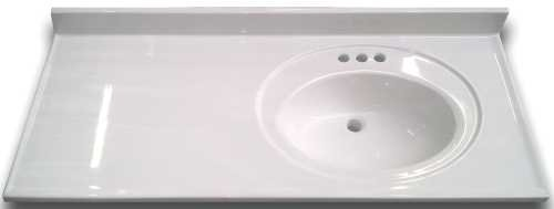 PREMIER BATHROOM VANITIES CABINETS 2474653 Bathroom Vanity Top With Right Recessed Bowl Cultured Marble White 22X37