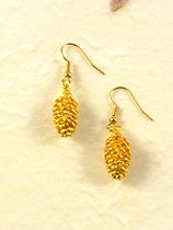 REAL LEAF Pine Cone Earrings Gold Plated
