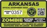 "Yellow Dog Arkansas AR Zombie Hunting Permit - Hunter Response Biohazard Team Unit - 4"" Outbreak Sticker"