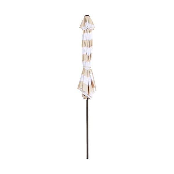 AmazonBasics - JC014 - Ombrellone da giardino, 2,74 m, a righe beige e bianche 3 spesavip
