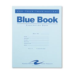 Exam Blue Book, Wide Rule, 8-1/2 x 7, White, 4 Sheets/8 Pages