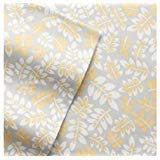 Cuddl Duds Twin Flannel Sheet Set - Yellow Gray Botanical