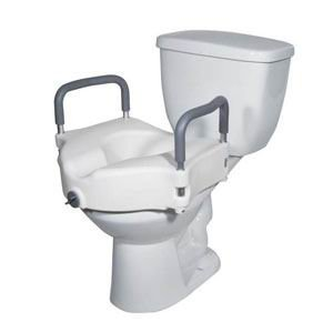 2 in 1 Locking Elevated Toilet Seat with Tool Free Removable Arms, 300 lb Weight Capacity (Single [Each-1])