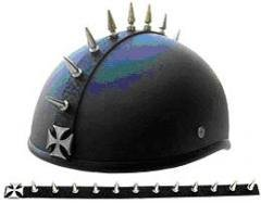 Maltese Cross Design Chrome Metal Helmet Mohawk Spike Strip Works On Any Helmet