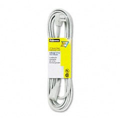 Fellowes Indoor Heavy-Duty Extension Cord, 3-Prong Plug, 1 Outlet, Gray