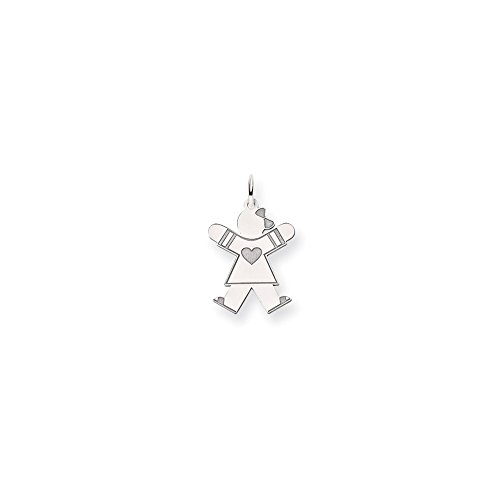 14k White Gold Heart Girl With Bow Joy Charm