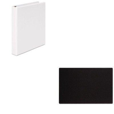 KITQRT7684BKUNV20962 - Value Kit - Quartet Oval Office Fabric Bulletin Board (QRT7684BK) and Universal Round Ring Economy Vinyl View Binder (UNV20962)