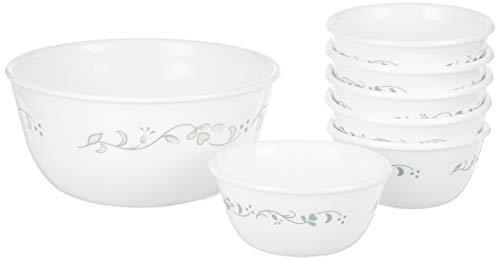 Corelle Country Cottage ES Glass Bowl Set, 7 Pieces, White