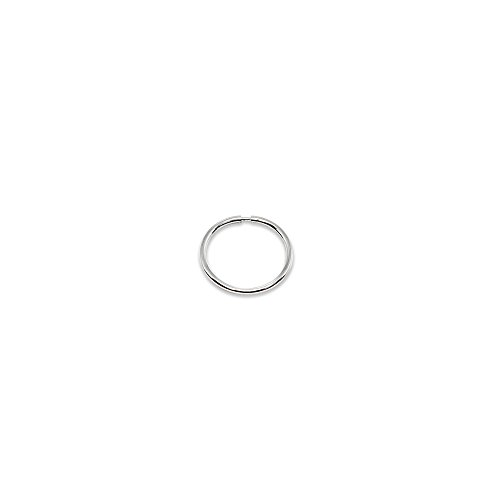 14K White Gold Single Tiny Small Endless 10mm Round Thin Lightweight Unisex Hoop Earring - 14k Ring Gold Eyebrow