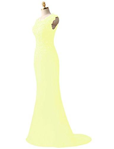 Vestidos de Sat¨ªn Amarillo Formal Fiesta Applique HUINI Pliegues Vestidos Paseo Largo Lentejuelas noche S1AwP