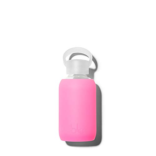 bkr - Best Original Glass Water Bottle - Premium Quality - Soft Silicone Protective Sleeve - BPA Free - Dishwasher Safe (8oz/ 250ml)-Romeo Heart - Opaque Periwinkle Blue