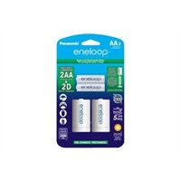 PANASONIC K-KJS1MCA2BA eneloop(R) 2 AA Batteries & 2 Spacers Kit (D Size)