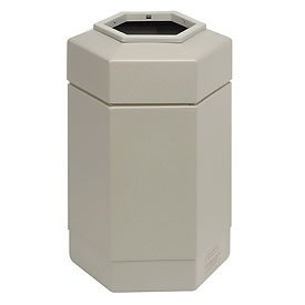 Facility Waste Receptacles - Commercial Zone Waste Receptacle, 30 Gallon, Beige
