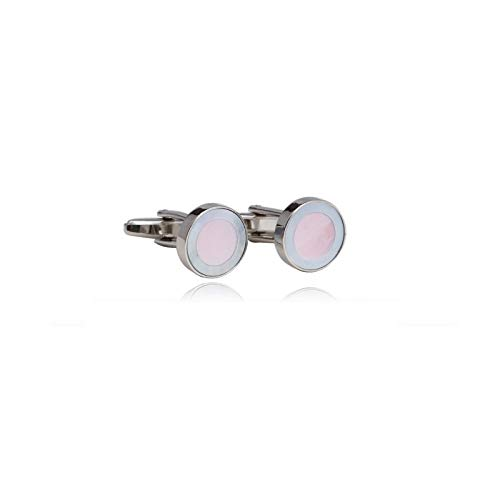 Digabi Men's Jewelry Classic Design Mother of Pearl Gentleman Grace Round Cufflinks for Men Color White and ()